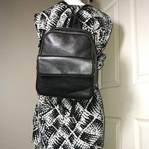 Aurielle Black Leather Backpack Adjustable Strap